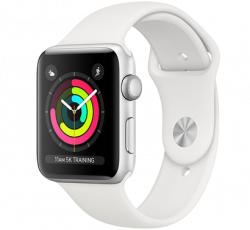Free Apple Watch Series 3 38mm Silver Aluminium Case with White Sport Band