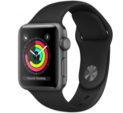 Free Apple Watch Series 3 38mm Space Grey Aluminium Case with Black Sport Band