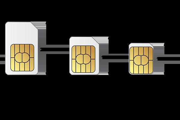 Standard SIM Card, Micro SIM and Nano SIM sizes